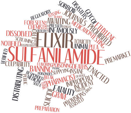 banning: Abstract word cloud for Elixir sulfanilamide with related tags and terms