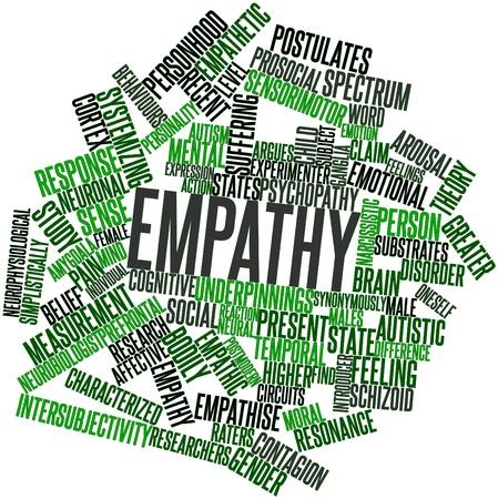 empatia: Nube palabra abstracta para Empatía con las etiquetas y términos relacionados Foto de archivo