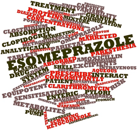 yellowing: Abstract word cloud for Esomeprazole with related tags and terms