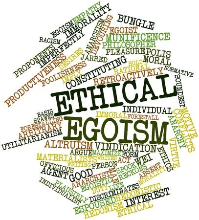 arbitrario: Nube palabra abstracta para el egoísmo ético con las etiquetas y términos relacionados