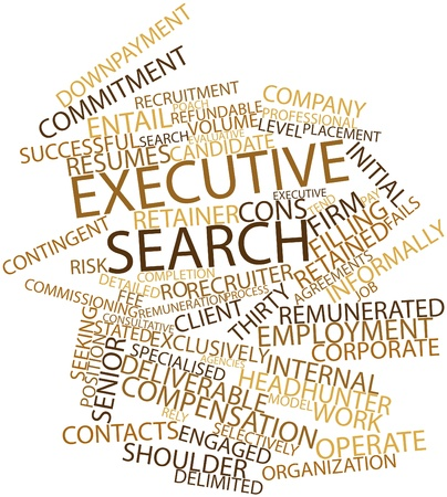 deliverable: Abstract word cloud for Executive search with related tags and terms