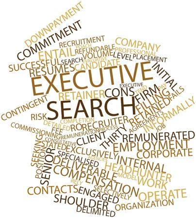 retained: Nube palabra abstracta para búsqueda de ejecutivos con etiquetas y términos relacionados