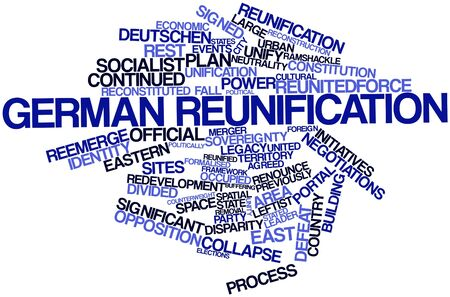 centralised: Abstract word cloud for German reunification with related tags and terms Stock Photo