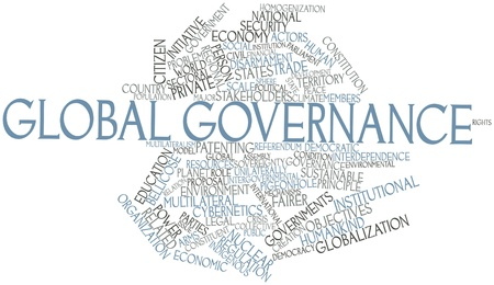 Abstract word cloud for Global governance with related tags and terms photo