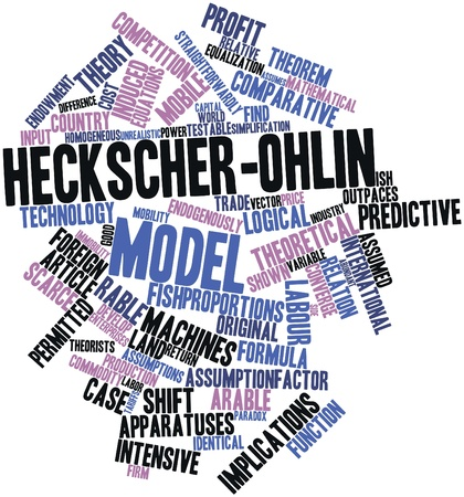 arable: Abstract word cloud for Heckscher-Ohlin model with related tags and terms Stock Photo