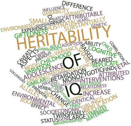 retardation: Abstract word cloud for Heritability of IQ with related tags and terms Stock Photo