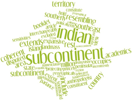 parlance: Abstract word cloud for Indian subcontinent with related tags and terms