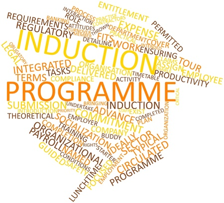 programme: Abstract word cloud for Induction programme with related tags and terms