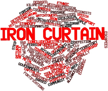 clang: Abstract word cloud for Iron Curtain with related tags and terms Stock Photo