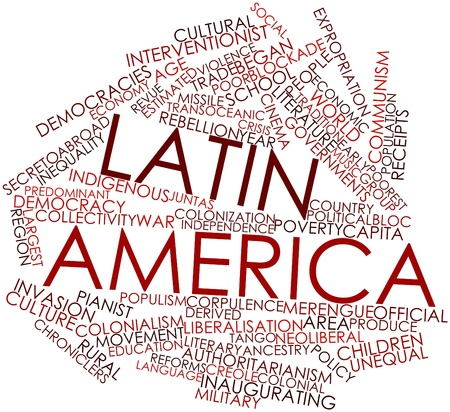 predominant: Abstract word cloud for Latin America with related tags and terms Stock Photo