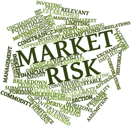 implied: Abstract word cloud for Market risk with related tags and terms Stock Photo
