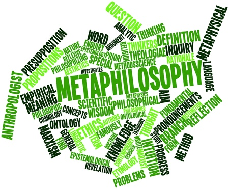 causation: Abstract word cloud for Metaphilosophy with related tags and terms Stock Photo