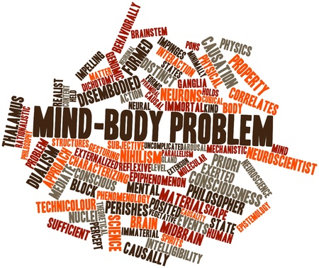 characterizing: Abstract word cloud for Mind-body problem with related tags and terms Stock Photo