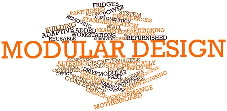 replaceable: Abstract word cloud for Modular design with related tags and terms