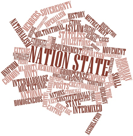 ideological: Abstract word cloud for Nation state with related tags and terms