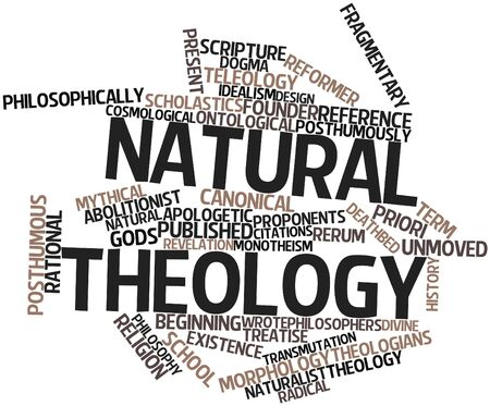 rendition: Abstract word cloud for Natural theology with related tags and terms Stock Photo