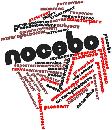 quinine: Abstract word cloud for Nocebo with related tags and terms Stock Photo
