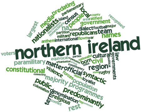 flown: Abstract word cloud for Northern Ireland with related tags and terms