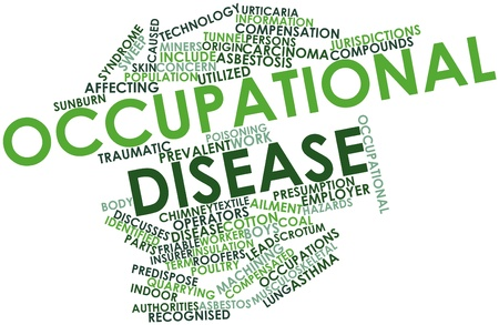 machining: Abstract word cloud for Occupational disease with related tags and terms