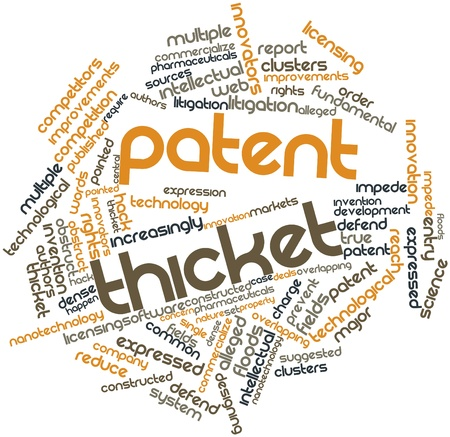 alleged: Abstract word cloud for Patent thicket with related tags and terms