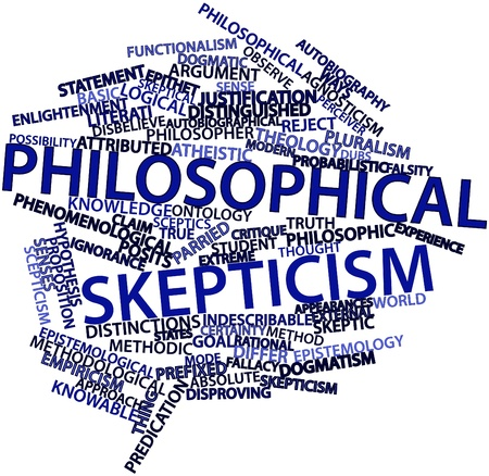 critique: Abstract word cloud for Philosophical skepticism with related tags and terms Stock Photo