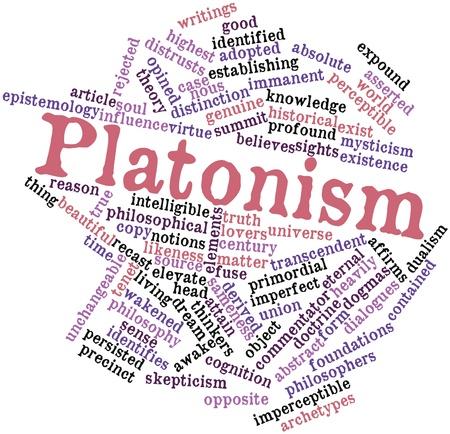 inteligible: Nube palabra abstracta para platonismo con las etiquetas y t�rminos relacionados Foto de archivo