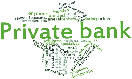 Abstract word cloud for Private bank with related tags and terms photo