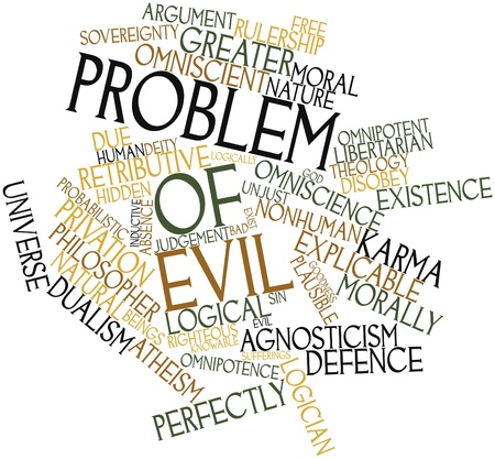 disinclination: Abstract word cloud for Problem of evil with related tags and terms