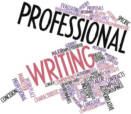 verschillen: Abstract woordwolk for Professional schrijven met gerelateerde tags en voorwaarden Stockfoto