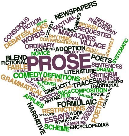 prosa: Word cloud astratto per Prosa con tag correlati e termini Archivio Fotografico