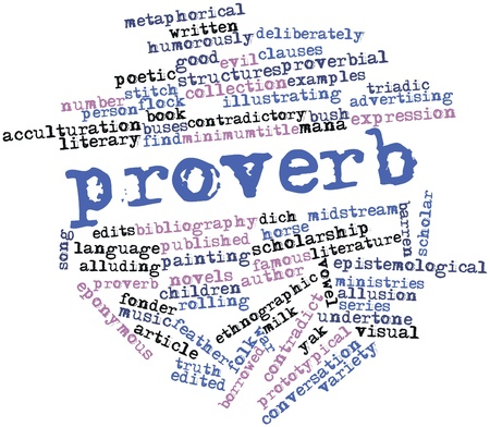 prototypical: Abstract word cloud for Proverb with related tags and terms Stock Photo