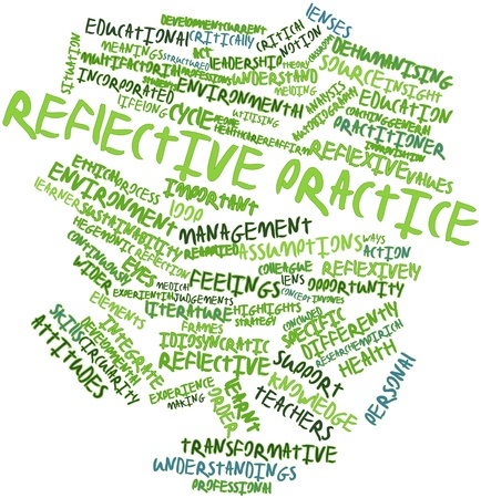 Abstract word cloud for Reflective practice with related tags and terms