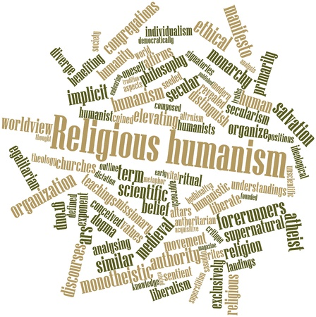 critique: Abstract word cloud for Religious humanism with related tags and terms