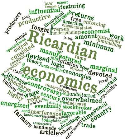 Abstract word cloud for Ricardian economics with related tags and terms