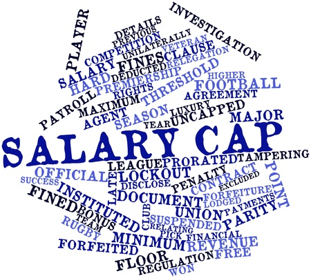 incorrectly: Abstract word cloud for Salary cap with related tags and terms Stock Photo