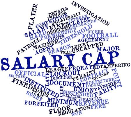 excludes: Word cloud astratto per il salary cap con tag correlati e termini Archivio Fotografico