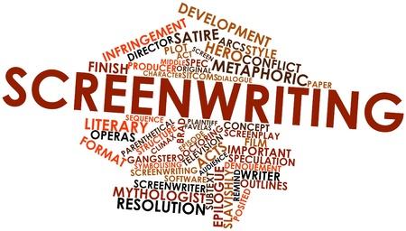 doctoring: Word cloud astratto per sceneggiatura con tag correlati e termini