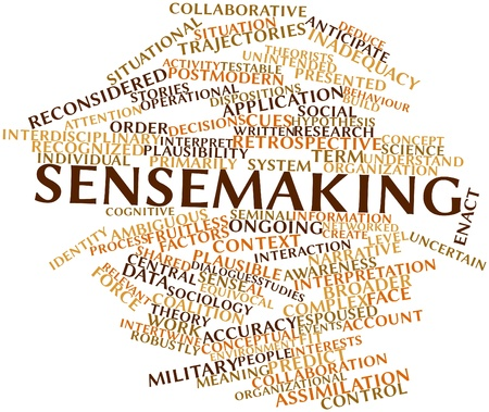 deduce: Abstract word cloud for Sensemaking with related tags and terms Stock Photo