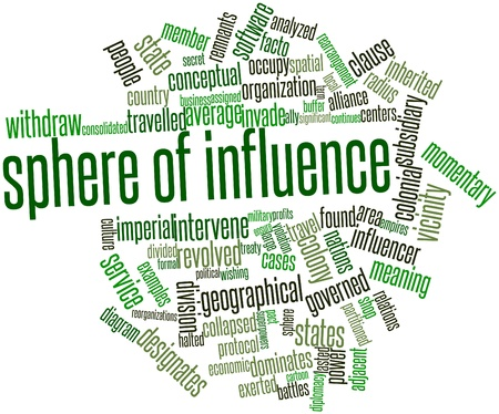 centers: Abstract word cloud for Sphere of influence with related tags and terms Stock Photo