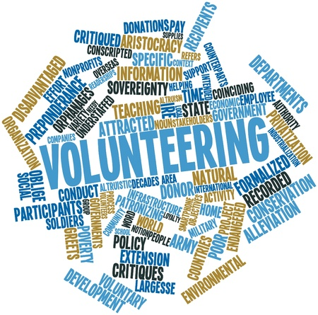 Abstract word cloud for Volunteering with related tags and terms