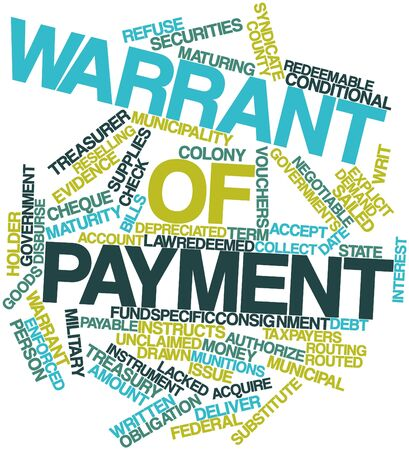 refunds: Abstract word cloud for Warrant of payment with related tags and terms
