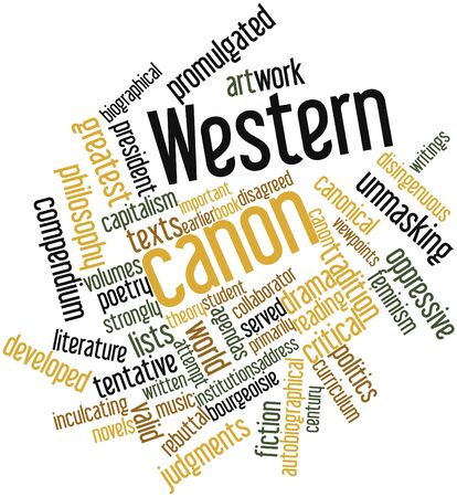 promulgated: Abstract word cloud for Western canon with related tags and terms