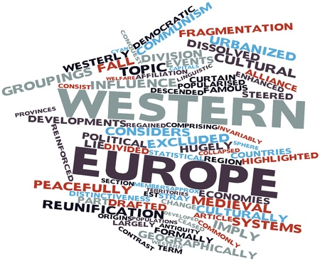 urbanized: Abstract word cloud for Western Europe with related tags and terms Stock Photo