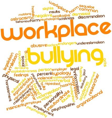 violence in the workplace: Nube palabra abstracta por acoso laboral con las etiquetas y t�rminos relacionados