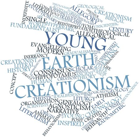 Abstract word cloud for Young Earth creationism with related tags and terms Stock Photo - 17149279
