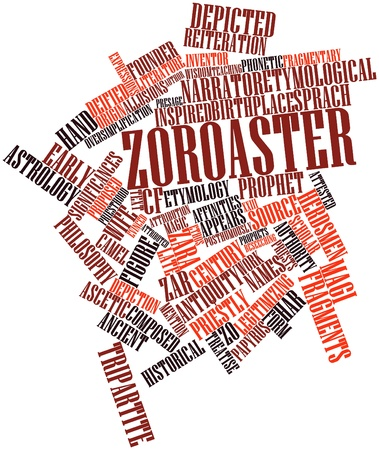 tripartite: Abstract word cloud for Zoroaster with related tags and terms Stock Photo
