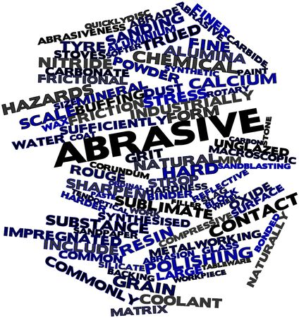 industrially: Abstract word cloud for Abrasive with related tags and terms Stock Photo