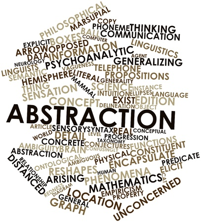 verbal: Abstract word cloud for Abstraction with related tags and terms Stock Photo