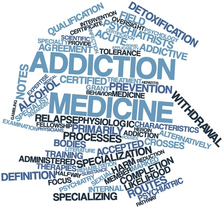 approximately: Abstract word cloud for Addiction medicine with related tags and terms Stock Photo