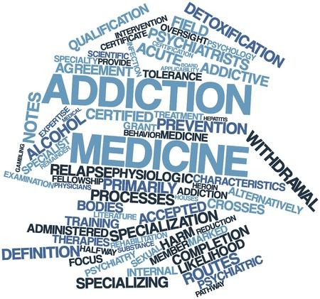 Abstraktes Wort-Wolke für Suchtmedizin mit verwandten Tags und Begriffe